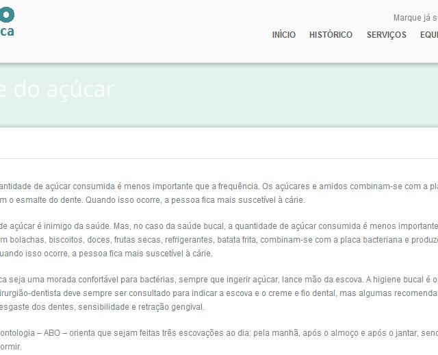 Dra. Chris Vitola no site Odonto Jardim América em Fique longe do açúcar