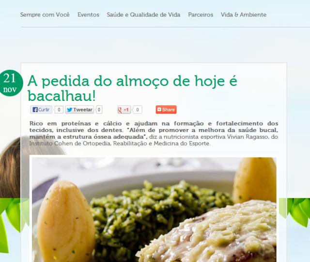 Dra. Chris Vitola no Site dos Sucos Jandaia em A pedida do almoço de hoje é bacalhau!