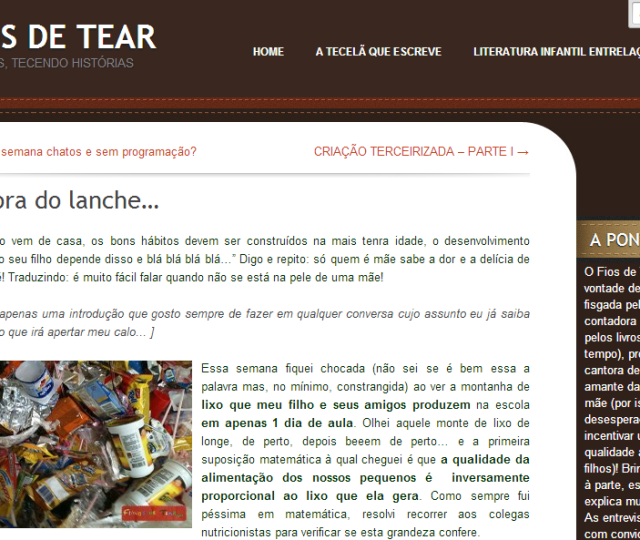 Dra. Chris Vitola no Blog Filhos do Tear - Na hora do lanche